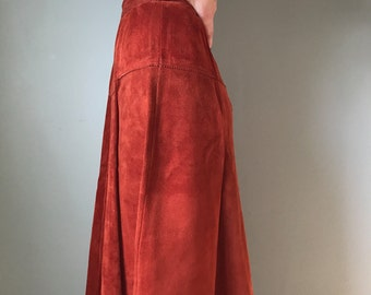 70s leather suede high waisted skirt | high waisted skirt | a-line skirt
