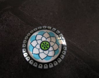 2 flower pattern 20 mm round glass cabochons