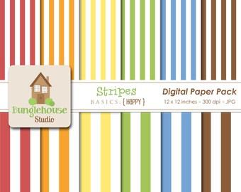Stripe Digital Paper | Primary Color Digital Stripes | Instant Download | Digital Scrapbooking Basics | Personal, CU Graphics | Happy Style
