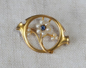 Antique 10Kt Pearl and Blue Gem Pin, KC067