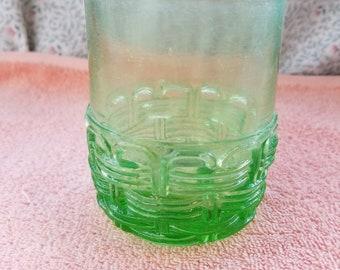 "Vintage Green Glass Tumbler - 4"" Tall"