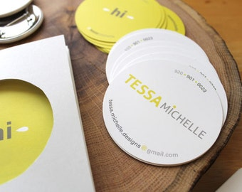 """100 round hang tags or business cards - 2.5"""" glossy custom printed  full color circles - 14 PT stock"""