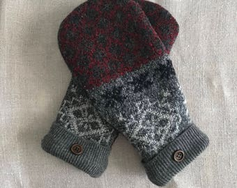 Felted wool blend mittens