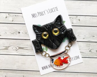 Cat and Fish Bowl Dangle Pin Brooch - Black - Fakelite - Vintage inspired