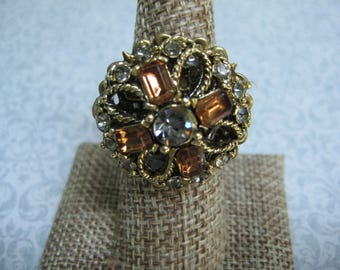 Upcycled Ring, Vintage Ring, Statement Ring, Upcycled Recycled, Repurposed Jewelry, Vintage Earring Ring, Amber Bronze Clear, OOAK/R34