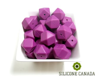 Hexagon - Plum Loose Silicone Beads for Teething Necklace