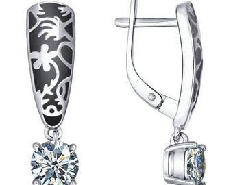 Earrings Sterling Silver 925 with CZ Enamel Black