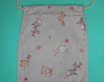 Bag / fully lined, DrawString bag - childlike fabric - new, handmade