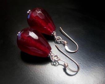 Red Jade Teardrop Earrings, Faceted Red Jade Teardrops, Sterling Silver, Red Jade Jewelry, Teardrop Earrings, 18mm Red Earrings
