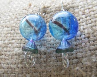 Handmade Mermaid Cobalt And Teal Handblown Lampwork Sphere And Peacock Bell FLower Earrings, Handmade By Susan Every OOAK