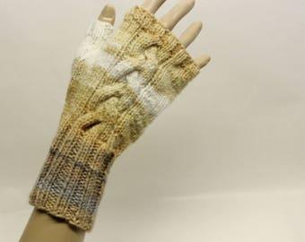 Cabled Fingerless Gloves in Caramel Multi  FG011