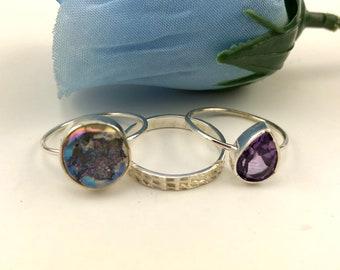 Titanium Druzy and Amethyst Sterling Silver stacking ring set of 3, Stacking rings, amethyst ring, druzy ring, gemstone, rings, gemston ring