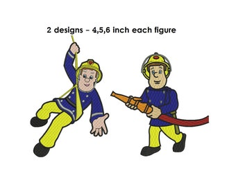Fireman Sam Machine Embroidery Design - 2 designs -  4,5,6 inch size instant download