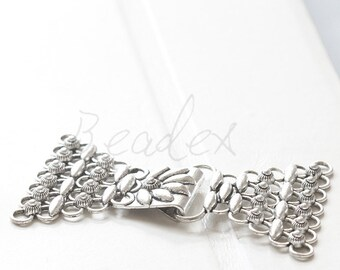 One Set / Oxidized Silver Tone / Hook and Eye / Clasps (Y16148//E145)