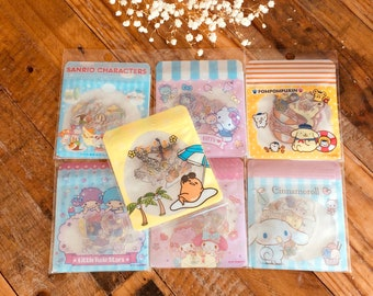 Sanrio Summer Theme Clear Flake Stickers / Seal Bits with Silver Foil Edging  for Art Journaling, Snail Mail, scrapbooking, gift packaging