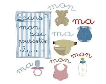 Baby stroller transportation embroidery design
