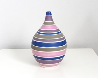 Porcelain Teardrop Vase Pink Grey Blue - Handmade Pottery Stripes