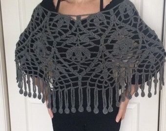 Handmade Crochet Grey Heather Poncho