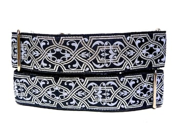 Martingale, Dog Collar, MYSTIQUE, silver and black, Celtic collar, Renaissance collar, Safety Collar, Greyhound Collar, Sighthound collar