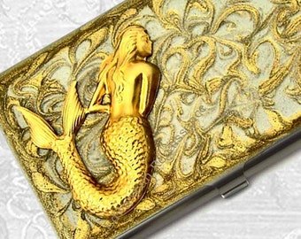 Mermaid Business Card Case Neo Victorian Inspired Inlaid in Hand Painted Enamel in a Gold Swirl Design Custom Colors and Personalized Option