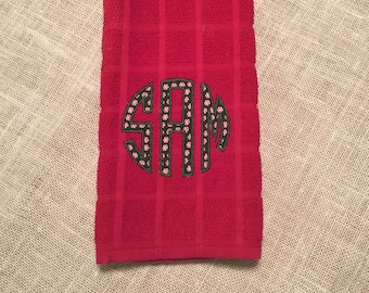 monogrammed kitchen towel, monogrammed dish towel, kitchen towels, dish towels, hostess gift. housewarming gift, holiday gift