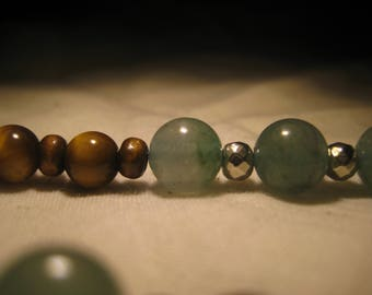 Beautiful Tigers Eye and Adventurine meditation beads