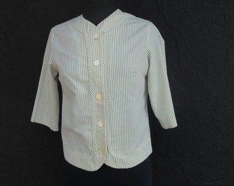 SALE 60s Cropped Blouse Green Summer Button Up Seersucker Top Original Playmaker S-M