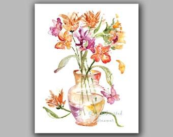 Watercolor Floral Print, Butterfly Art, Flower Print, Watercolor Painting, Orange, Magenta, Bedroom Painting, Bedroom Watercolor, Bouquet