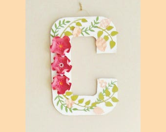 Paper Flower Letter C - READY TO SHIP | Gifts for Her | Wall Art | Flower Decor | Wall Hanging | Baby Nursery Decor | Paper Flowe Letters