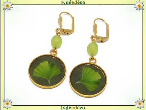 Earrings Golden brass gold 24 carat tree resin lime green Japan GINKO pearls gift mother's day wedding anniversary