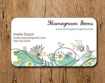 Modern Business Cards Blue Bird Flowers Floral Mommy Calling Cards 00097a