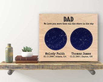 Father's Day Gift from Daughter to Father Gift from Son Gift for Dad Gift Night Sky Print Custom Wood 2 Sky Constellation Print Star Map