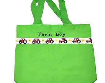 Tractor Tote Bag with Monogram Name Embroidered on it, Personalized Bag, Swin Bag, Toy Bag, Boy Tote Bag