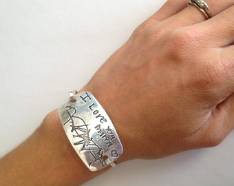 2 Kids Message Silver Bracelet -Your Children's Actual Writing Extra Large Curved Rectangle Tension Bracelet -Made to Order