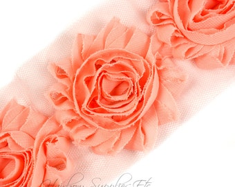 Peach Shabby Trim 2-1/2 inches - Peach Shabby Flowers, Peach Flower Headband, Peach Fabric Flower, Peach Hair Flowers, Peach Flowers