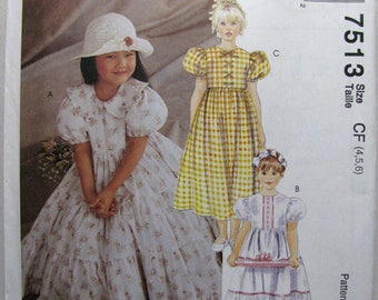 McCalls 7513 Childrens, Girls Dress Sewing Pattern - Vintage Sewing Supplies - Easter Dress - Summer - Flower Girl - Special Occasion Dress
