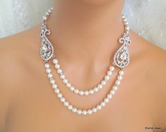 pearl necklace, bridal necklace, bridal pearl necklace, rhinestone necklace, crystal necklace, wedding necklace, swarovski necklace, KARYME