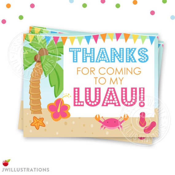 Wonderful Hula Party Printable Thank You 4X5 Luau Party Thank You Note CG15