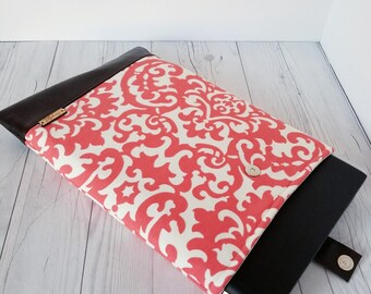 Coral Brown Laptop Sleeve, Damask, Laptop Case, Tablet Sleeve, Tablet Case, Macbook Sleeve, Macbook Case, 9in, 14in