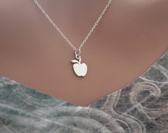 Apple necklace etsy sterling silver apple cutout necklace apple necklace apple necklace for teacher gift for aloadofball Choice Image