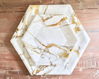 7.5in Mod Marble Hex Dessert Collection. Marble Party Decor. White and Gold or Silver Paper Party Plates. Disposable Plates.