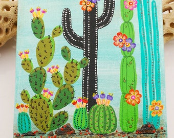 """Cactus 5x7"""" Acrylic Painting - Handcrafted Artisan Painted Wall Art, Home Decor, Green, Turquoise, Black, Pink, Floral"""