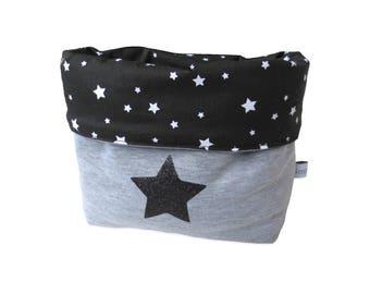 Reversible Pouch Black Stars grey cotton jersey white