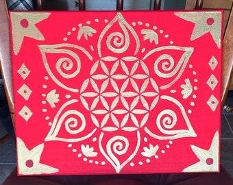Red & gold flower of life mandala bohemian freehand acrylic painting