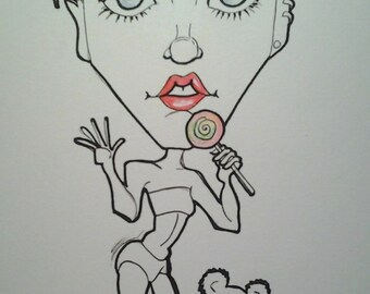 Miley Rock Portrait Rock and Roll Caricature Music Art by Leslie Mehl