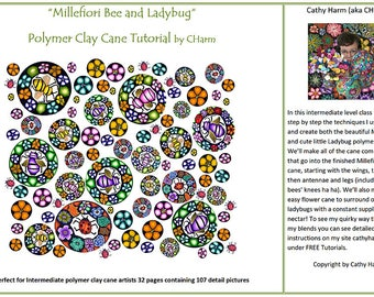 Millefiori Bee and Ladybug polymer clay cane tutorial by CHarm