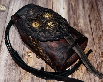 Demon - Monster - Zombie - Small Backpack - Zombie Bag - Leather Backpack - Undead - Horror - Necronomicon