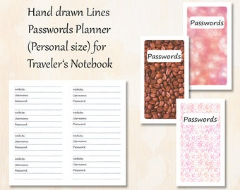 Personal TN   3 covers   Hand drawn Lines Passwords Planner Insert Traveler's Notebook   printable paper pages bokeh leaf coffee theme cover