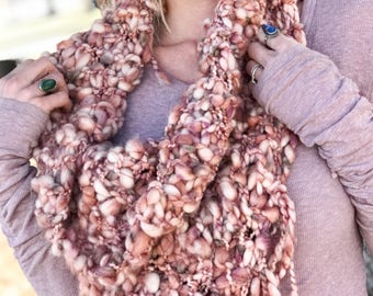 Chunky Knit Cowl, Boho Chunky Scarf, Knit Scarf With Fringe, Gypsy Scarf, Rustic Shawl, Mauve Cowl Scarf, Thick Neck Scarf, Fringed Cowl