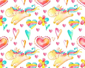 Fat Quarter Unicorn, Unicorn fabric, Unicorn Rainbows fabric, 100% Cotton, Baby Cotton Fabric, Unicorn baby fabric, Heart fabric